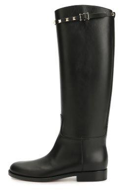 Кожаные Сапоги Rockstud С Ремешком Valentino                                                                                                              чёрный цвет