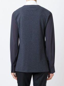 Блузка С Контрастными Рукавами Brunello Cucinelli                                                                                                              серый цвет