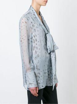 Прозрачная Блузка С Бантом Agnona                                                                                                              синий цвет
