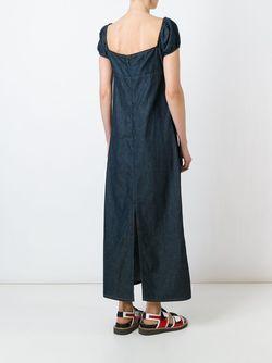 Длинное Джинсовое Платье WALTER VAN BEIRENDONCK VINTAGE                                                                                                              синий цвет