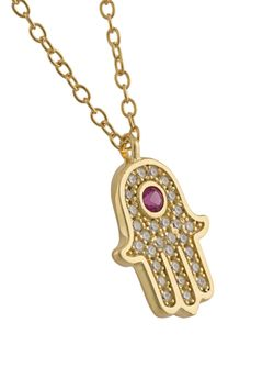 Hamsa Hand Pendant Necklace Nialaya Jewelry                                                                                                              желтый цвет