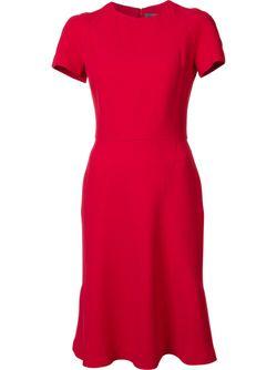 Расклешенное Платье С Короткими Рукавами Alexander McQueen                                                                                                              красный цвет