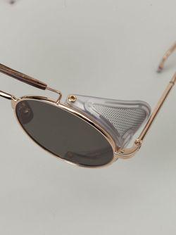 Солнцезащитные Очки В Круглой Оправе Thom Browne                                                                                                              серебристый цвет