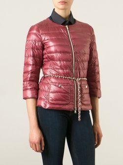 Дутая Куртка С Цепочным Поясом Herno                                                                                                              красный цвет