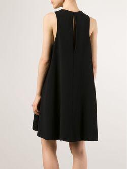 Креповое Платье С Кожаной Отделкой T By Alexander Wang                                                                                                              чёрный цвет