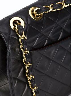 Большая Стёганая Сумка На Плечо Chanel Vintage                                                                                                              чёрный цвет