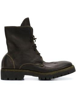 Ботинки На Шнуровке С Эффектом Поношенности GUIDI                                                                                                              чёрный цвет