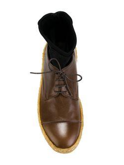 Туфли На Шнуровке С Носочной Вставкой Zucca                                                                                                              коричневый цвет