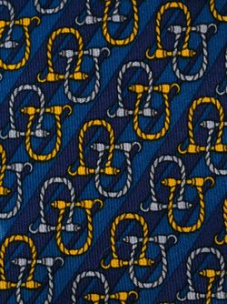 -Tone Print Tie Hermès Vintage                                                                                                              синий цвет