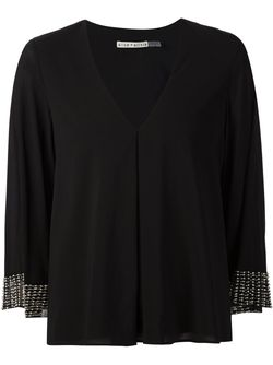 Beaded Cuffs V-Neck Top Alice + Olivia                                                                                                              чёрный цвет