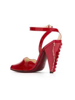 Босоножки С Фестонами Saint Laurent                                                                                                              красный цвет