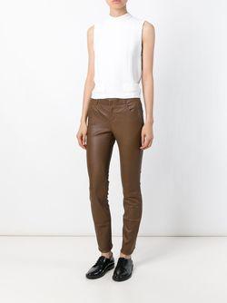 Кожаные Брюки Кроя Скинни STOULS                                                                                                              коричневый цвет