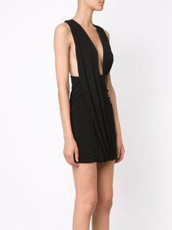 Драпированное Мини-Платье Anthony Vaccarello                                                                                                              черный цвет