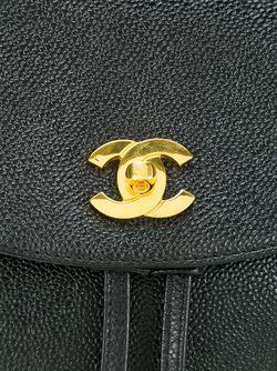 Рюкзак С Тисненым Логотипом Chanel Vintage                                                                                                              чёрный цвет