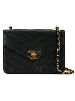 Сумка С Простроченным Узором-Елочкой Chanel Vintage                                                                                                              чёрный цвет
