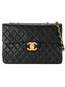 Стеганая Сумка На Плечо Jumbo Chanel Vintage                                                                                                              черный цвет