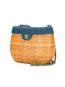 Плетеная Сумка На Плечо Chanel Vintage                                                                                                              коричневый цвет