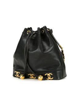 Сумка-Мешок С Бляшками С Логотипом Chanel Vintage                                                                                                              черный цвет
