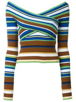 Полосатый Свитер С Приспущенными Плечами MSGM                                                                                                              многоцветный цвет