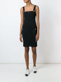 Приталенное Трикотажное Платье Chanel Vintage                                                                                                              черный цвет