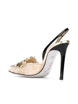 Декорированные Туфли С Кружевом Rene' Caovilla                                                                                                              Nude & Neutrals цвет
