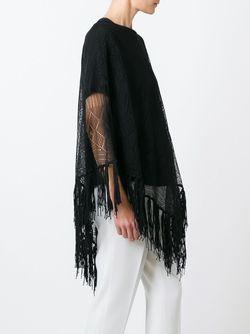 Трикотажное Пончо С Бахромой Valentino                                                                                                              черный цвет