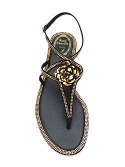 Декорированные Кристаллами Сандалии Rene' Caovilla                                                                                                              чёрный цвет