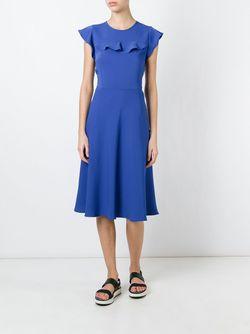 Платье Миди С Оборками P.A.R.O.S.H.                                                                                                              синий цвет