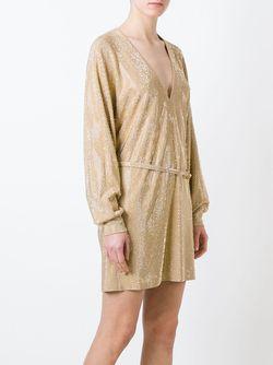 Декорированное Платье C V-Образным Вырезом Balmain                                                                                                              Nude & Neutrals цвет