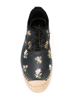 Эспадрильи С Цветочным Принтом Saint Laurent                                                                                                              чёрный цвет
