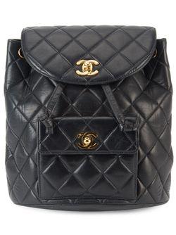Стеганый Рюкзак С Цепочной Отделкой Chanel Vintage                                                                                                              чёрный цвет