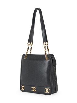 Сумка На Плечо Cc С Цепочной Отделкой Chanel Vintage                                                                                                              чёрный цвет