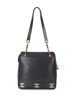 Сумка На Плечо Cc С Цепочной Отделкой Chanel Vintage                                                                                                              черный цвет