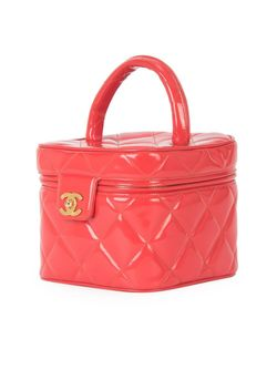 Стеганый Чемоданчик Для Косметики Chanel Vintage                                                                                                              красный цвет
