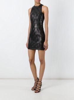 Плетеное Мини-Платье Balmain                                                                                                              чёрный цвет