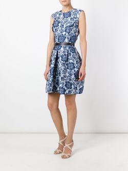 Жаккардовое Платье-Колокол Ermanno Scervino                                                                                                              синий цвет