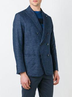 Тканый Двубортный Пиджак Lardini                                                                                                              синий цвет