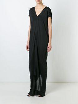 Длинное Драпированное Платье Rick Owens                                                                                                              чёрный цвет