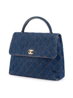 Стеганая Джинсовая Сумка-Тоут Kelly Chanel Vintage                                                                                                              синий цвет