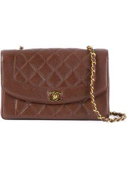 Стеганая Сумка На Плечо Chanel Vintage                                                                                                              коричневый цвет