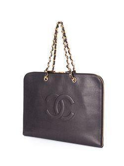 Плоский Портфель С Логотипом Chanel Vintage                                                                                                              чёрный цвет