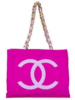 Сумка-Тоут С Логотипом Chanel Vintage                                                                                                              розовый цвет