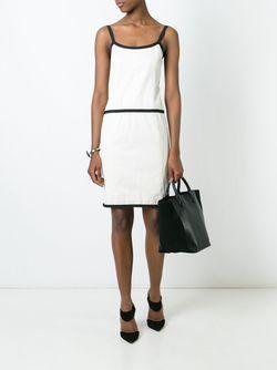 Платье С Контрастной Окантовкой Chanel Vintage                                                                                                              Nude & Neutrals цвет