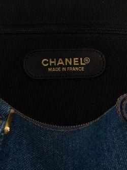 Джинсовая Бостонская Сумка Chanel Vintage                                                                                                              синий цвет