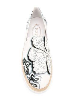 Кеды-Слипон С Цветочным Принтом Tod'S                                                                                                              белый цвет
