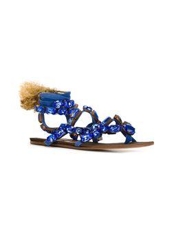 Босоножки С Украшением В Виде Кристаллов ROMEO GIGLI VINTAGE                                                                                                              синий цвет