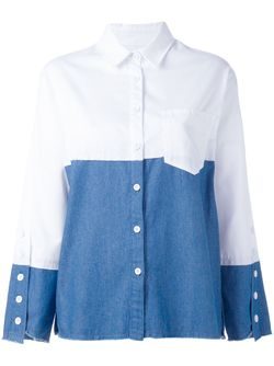 Bicolour Boxy Shirt Steve J & Yoni P                                                                                                              белый цвет
