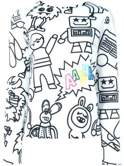 Cartoon Characters Print Sweatshirt Mira Mikati                                                                                                              белый цвет