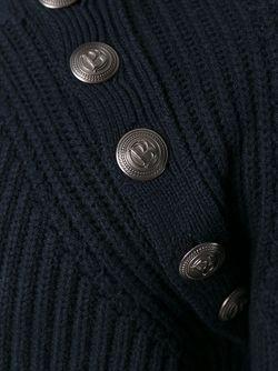 Свитер В Рубчик С Пуговичной Отделкой Pierre Balmain                                                                                                              синий цвет