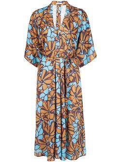 Платье-Миди С Цветочным Принтом TOME                                                                                                              коричневый цвет